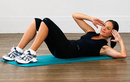 giảm béo bụng trên với động tác nghiêng người