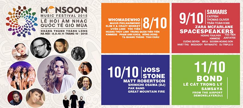 Lịch diễn lễ hội âm nhạc Monsoon 2015
