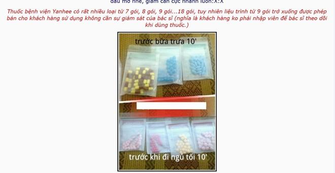 thuốc giảm cân Yahee của Thái Lan